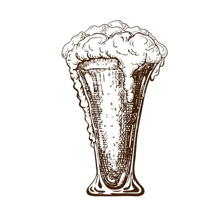 vector hand drawn tall beer glass full of cool beer with foam. Beautiful vintage beer mug or pilsner with dropping froth isolated on white background. Alcoholic beverage in glassware. ink drawn style.