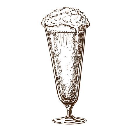hand drawn tall beer glass full of beer with foam. Beautiful vintage beer mug or pilsner with dropping froth isolated on white background. Alcoholic beverage in glassware ink drawn style.