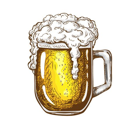 vector hand drawn traditional beer glass full of wheat beer with foam. Beautiful vintage etched beer mug with dropping froth isolated on white background. Alcoholic yellow beverage in glassware.