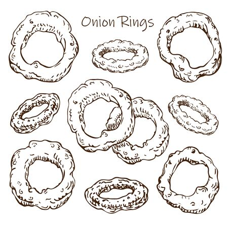 Hand drawn roasted onion rings illustration isolated on white background. street fast food or pub food collection in sketch style.Vintage engraved illustration of beer snack top view for your design