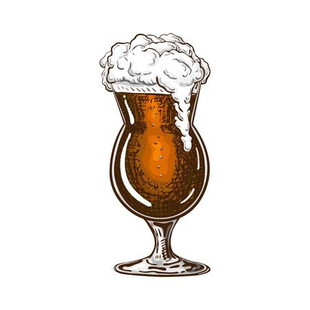 vector hand drawn tulip beer glass full of dark beer with liquid foam. Beautiful vintage beer mug or snifter with dropping froth isolated on white background. Alcoholic brown beverage in glassware. Иллюстрация
