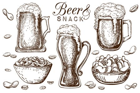 hand drawn beer and snacks collection isolated on white. Bar or Pub food set in vintage style. Beer mugs with liquid dropping froth and peanuts, pistachios, chips. craft beer food and appetizer in bar.