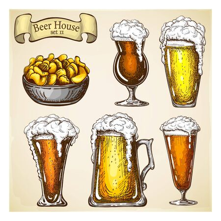 hand drawn beer with snack isolated on grunge backdrop. various types of beer glasses set in vintage style. Beer mugs with liquid dripping froth and chips. craft beer, food and appetizer in bar