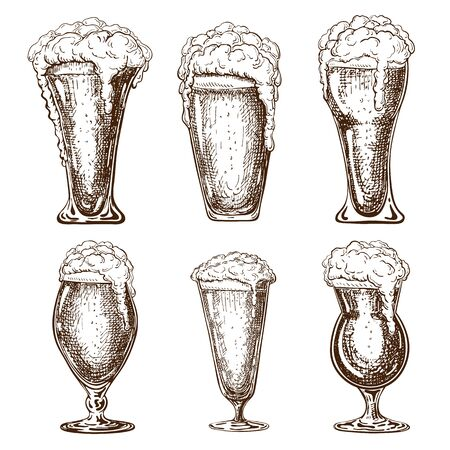 hand drawn full beer glasses with dropping froth. beer mugs illustration in vintage style isolated on white background. various types of beer pints. Great for poster, pub, label, menu design.