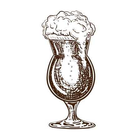 vector hand drawn tulip beer glass full of beer with liquid foam. Beautiful vintage beer mug or snifter with dropping froth isolated on white background. Alcoholic beverage in glassware Illusztráció