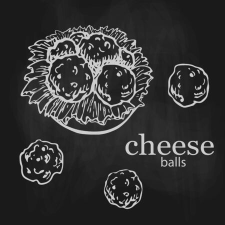 chalk drawn cheese balls with lettuce on plate isolated on black chalkboard. bar or pub snack. sicilian fast food, beer appetizer. arancini fried rice balls, Italian cuisine. breaded mozzarella sketch. Illustration