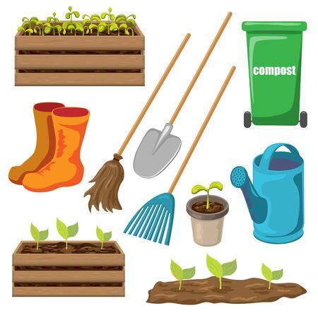 Vektor-Gartengeräte-Set isoliert auf weißem Hintergrund. Gartensymbol für Frühlings- oder Sommerdesign. realistischer Cartoon-Stil. Schaufel, Rechen, Gießkanne, Kompostbehälter für Saisonarbeit im Garten