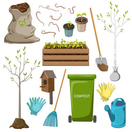 Vektor-Gartengeräte-Icon-Set isoliert auf weißem Hintergrund. Gartenartikelkollektion für saisonale Arbeiten im Frühjahr oder Sommer wie Baum- und Setzlingspflanzung, Gartenreinigung, Kompostierung, Bio-Gartenarbeit. Vektorgrafik