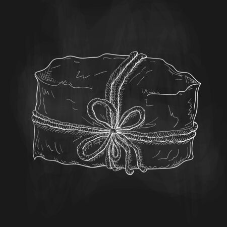 chalk drawn gift illustration on black chalkboard. craft paper wrapped package tied with cord or twine. Vintage gift box icon. present or paper wrapped parcel sketch on blackboard. box with string bow 일러스트