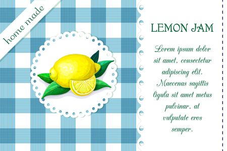 label with juicy ripe lemon on chequered backdrop in retro country style for product package design. vector blue and white plaid background with citrus fruits. organic food, juice, jam badge template
