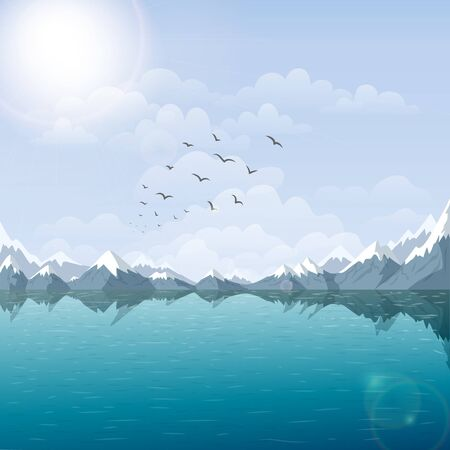 vector lake and mountain landscape illustration. beautiful nature background with riverside, and snow peaks view at summer sunny day. Rocks water and blue sky. tranquil outdoor scene with flying birds