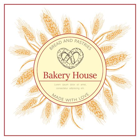 Bakery, pastry shop label, flyer template with wheat ears wreath and pretzel logo on white background. bakeshop vector hand drawn sketch illustration. banner for bakehouse, bread packaging design.