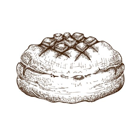 round rye bread isolated on white. hand drawn traditional brown rustic loaf doodle icon. fresh baked. Vector color sketch in vintage engraving style. illustration for poster, label, menu bakery shop Ilustracje wektorowe