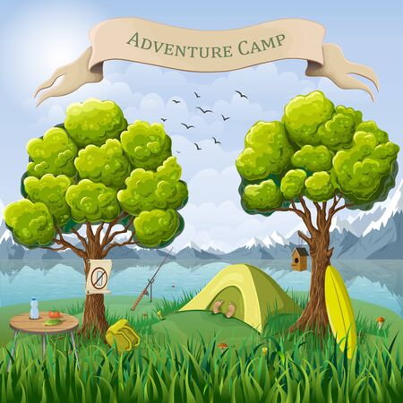Vector cartoon illustration of camping place in wild nature background. mountain landscape with tent, resting tourist on lake or riverside. Digital detox camp concept. Travel adventure poster, banner