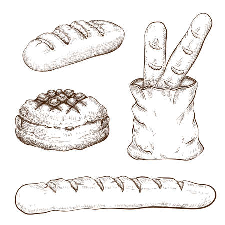 hand drawn breads set isolated on white. vector vintage illustration of variety bread like french baguette, round rustic bread, wheat long loaf, bread in bag. doodle sketch icons of bakery goods Illusztráció