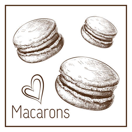 Hand drawn cute macarons isolated on white. vector Sketch of macaroons in vintage style. engraved pastry illustration. Sweet dessert clipart for label, logo, bakery menu, posters design. doodle set Illustration