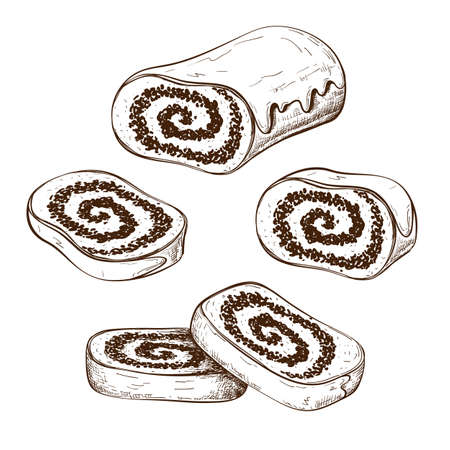 hand drawn poppy seed cake or strudel with slices isolated on white. bun or roll filled with poppy seeds set. engraved pastry sketch. Vector illustration of polish traditional dessert. christmas cake Illusztráció