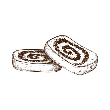 hand drawn slices of poppy seed cake or strudel isolated on white. bun or roll filled with poppy seeds set. engraved pastry sketch. Vector illustration of polish traditional dessert. christmas cake. 일러스트