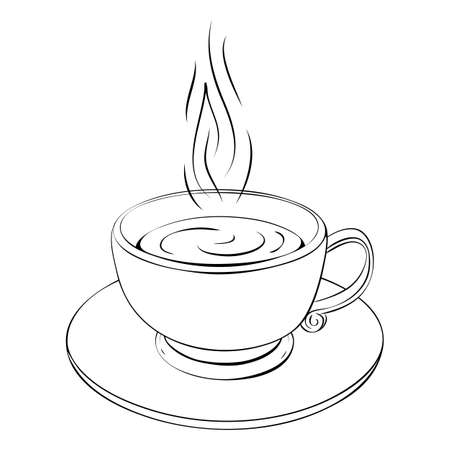 hot coffee cup or teacup line drawing isolated on white. Coffee break or tea sketch icon. outline illustration of one cappuccino, espresso, cacao or tea classic cup with curly steam. cafe logo concept