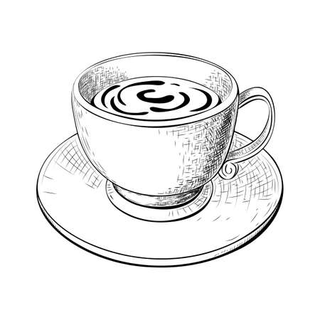 one cup of coffee or tea with saucer hand drawn sketch isolated on white. Engraved vector illustration of coffee or tea mug. hot drinks doodle drawing. cafe beverage icon. teacup or coffee cup image.