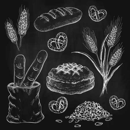 chalk drawn breads set on black chalkboard. chalk sketch of bread like french baguette, round rustic bread, wheat loaf, rye or wheat ears, grains and pretzels on black board. Vector illustration. Illusztráció