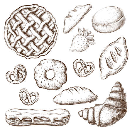 vector pastries sketch isolated on white. desserts graphics in vintage engraved style. cakes, croissant, eclair, buns, apple pie hand drawn set. bakery goods clipart for menu design, homemade pastry.