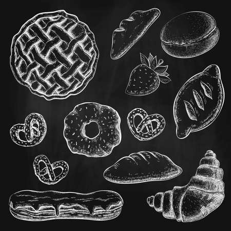 vector chalk drawn pastries sketch on black chalkboard. desserts graphics in vintage style. cakes croissant eclair buns, apple pie on blackboard. bakery goods clipart for menu design, homemade pastry.