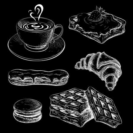 coffee with croissant chalk sketch on black chalkboard. pastries, sweet desserts on blackboard. breakfast icon set. drawn sweet pastry with cup of coffee. vintage croissant, eclair, waffers, macaroon.