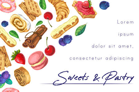 summer sweets, bakery, pastry background, banner with place for text and lettering. vector illustration of sweet desserts, pastries and berries isolated on white. great forconceptual trendy design