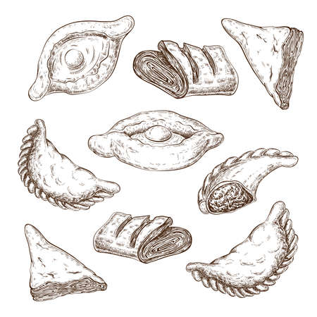 drawn puff pastries sketch set isolated. baking, pastries with cheese or meat stuffing. turnovers, khachapuri, burekas, empfans, egg boat pie, triangle buns. vintage style. traditional fried pastry. Illustration