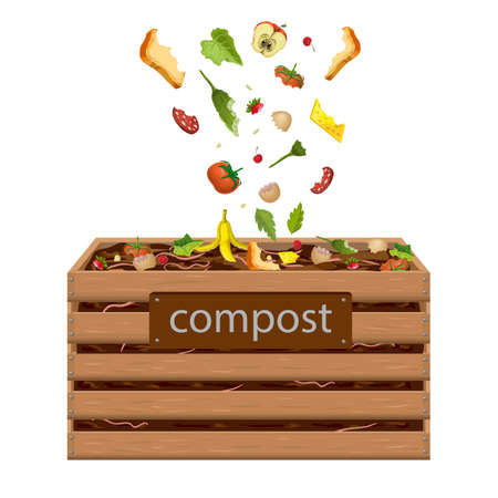 wooden compost box, bin with food waste vector illustration. garden composter for organic recycling of kitchen, natural household garbage. composted fertile soil, earth worms and biodegradable trash.