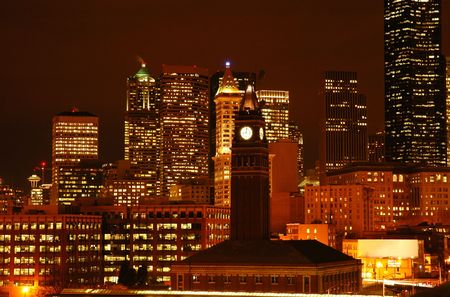 Night view of Seattle downtown with King Station photo