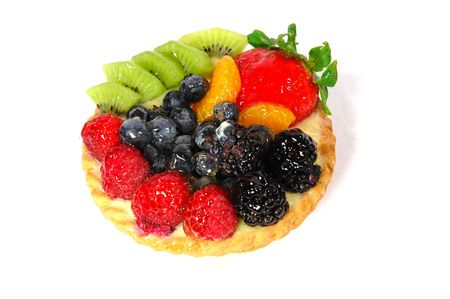 Fruit and berry pastry isolated on a white background Stock Photo