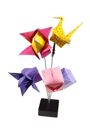 Composition of several origami figurines