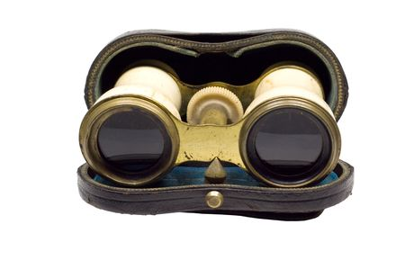 Antique opera glasses in a leather case photo