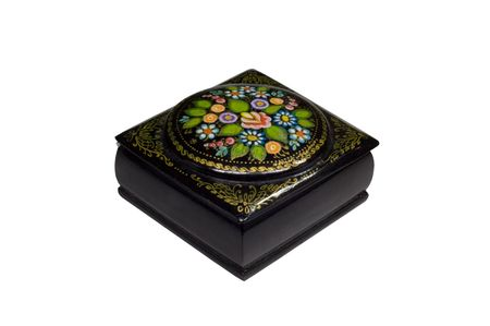 Wooden black lacquer jewelry casket with russian traditional pattern photo