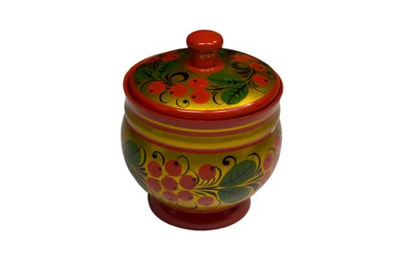 Wooden colored lacquer jewelry casket with russian traditional pattern photo