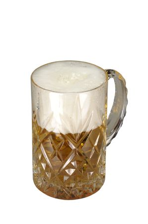 cutglass: Beer with a lot of foam in a cut-glass mug