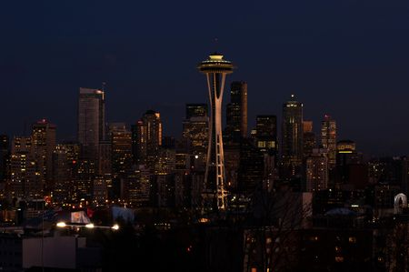 Night view of Seattle downtown with Space Needle in the middle photo