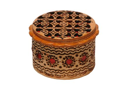 Russian traditional carved birch bark jewlery casket
