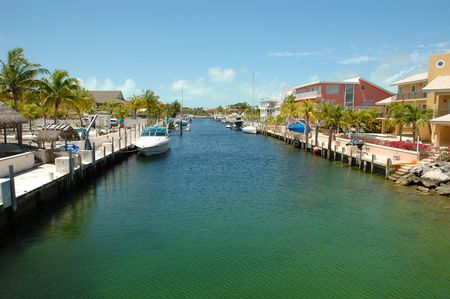 Internal view on Key Largo canals with canal-front houses