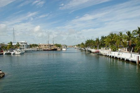 keys to heaven: Internal view on Key Largo canals with canal-front houses