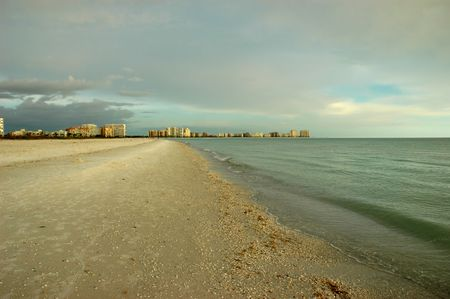 marco: Beach view of Marco Island, Florida, Gulf of Mexico right before sunset Stock Photo