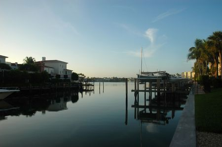 Morning view of  Naples, Florida waterway moorings and s