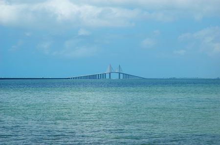 Sunshine Skyway cable-stayed bridge across Tampa Bay, Florida