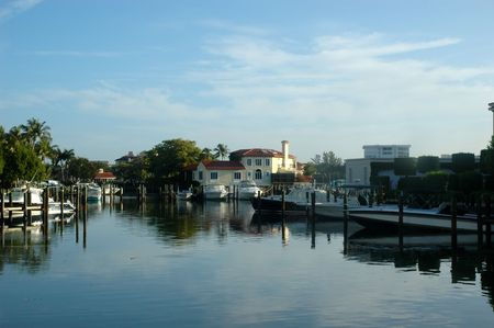 canals: Morning view of  Naples, Florida waterway moorings and s