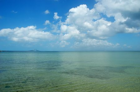 Seascape with Sunshine Skyway cable-stayed bridge across Tampa Bay, Florida