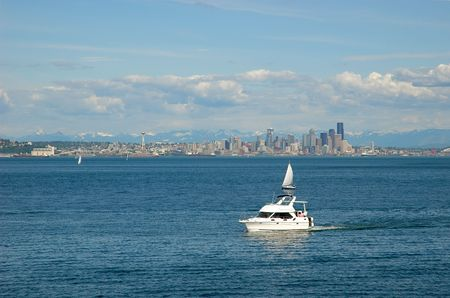 puget: View on Seattle downtown from Puget Sound