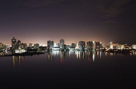miami sunset: Night view on Aventura from Sunny Isles  over Intercoastal Waterway Stock Photo