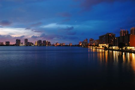 Night view on Aventura from Sunny Isles Beach over Intercoastal Waterway Stock Photo - 3729993